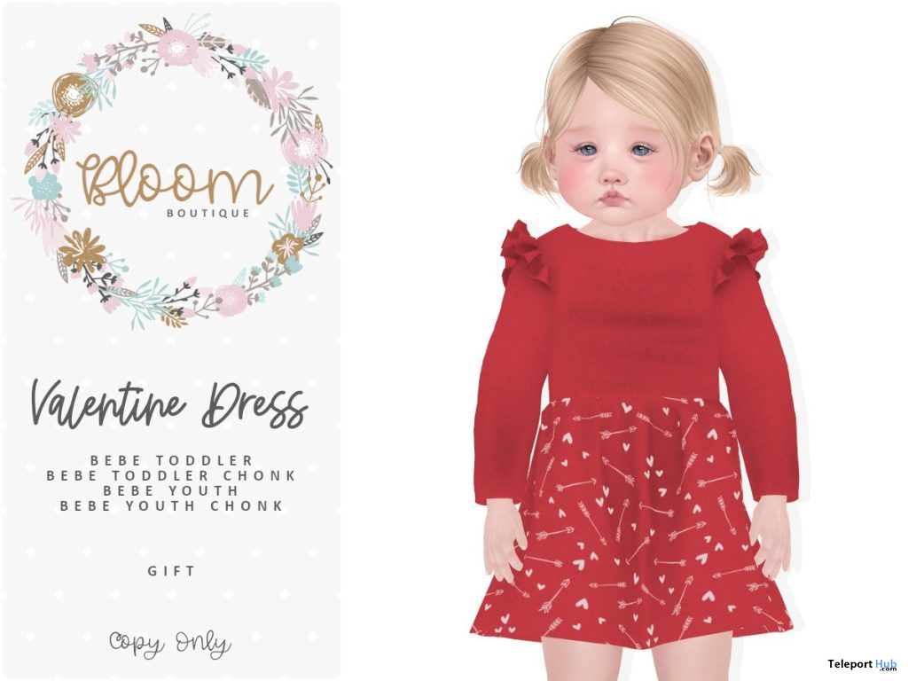 Valentine Dress For Bebe Toddler February 2020 Group Gift by Bloom Boutique - Teleport Hub - teleporthub.com