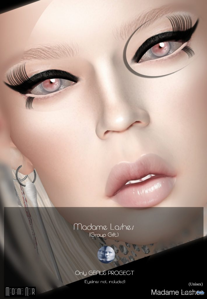 Madame Lashes Pack For Genus Mesh Head March 2020 Group Gift by Madame Noir - Teleport Hub - teleporthub.com