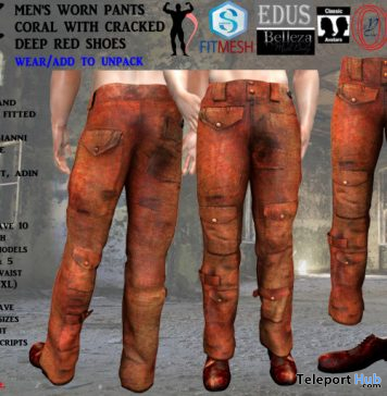 Men's Worn Pants Coral & Cracked Deep Red Shoes March 2020 Group Gift by Armageddon Creations - Teleport Hub - teleporthub.com