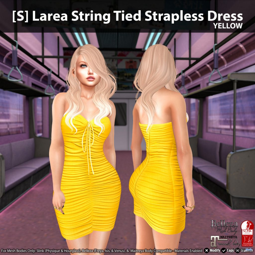 New Release: [S] Larea String Tied Strapless Dress by [satus Inc] - Teleport Hub - teleporthub.com