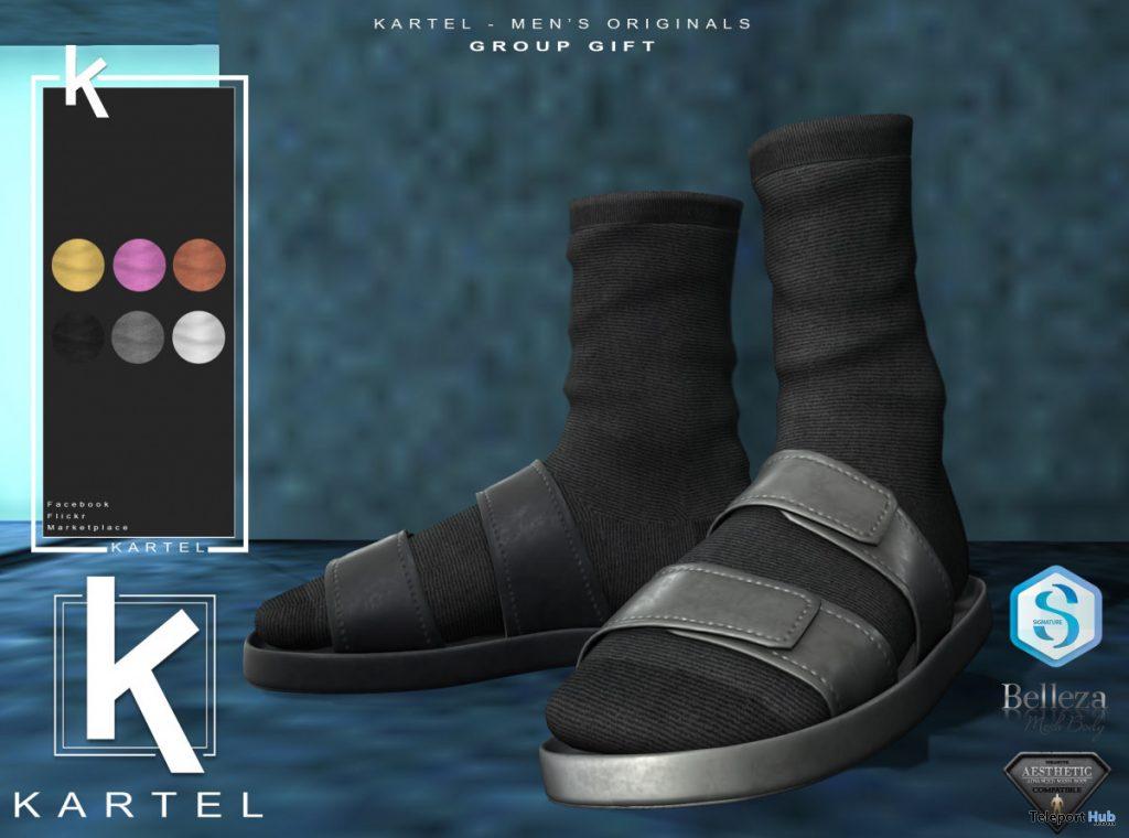 Logan Slides Black With Socks March 2020 Group Gift by Kartel - Teleport Hub - teleporthub.com