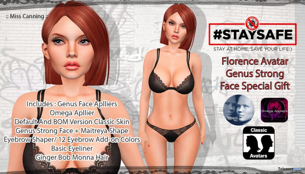 Florence Skin Applier For Genus Strong Face Mesh Head April 2020 Group Gift by Miss Canning - Teleport Hub - teleporthub.com