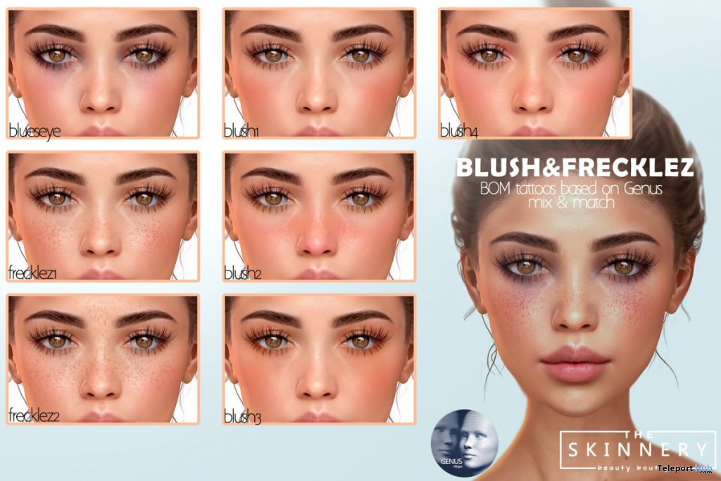 Blush & Freckles For Genus Mesh Head April 2020 Group Gift by [theSkinnery] - Teleport Hub - teleporthub.com