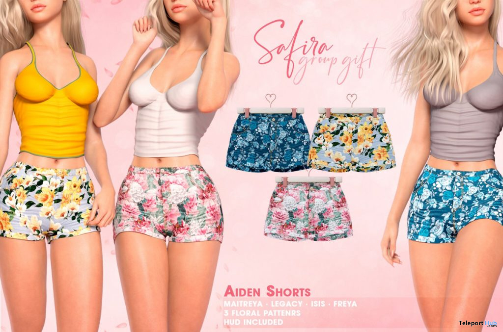 Aiden Jeans Shorts Floral April 2020 Group Gift by Safira - Teleport Hub - teleporthub.com