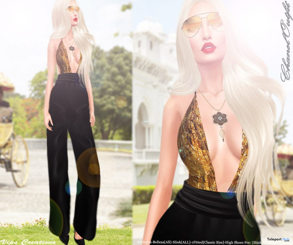 Golden Jumpsuit April 2020 Group Gift by Vips Creations - Teleport Hub - teleporthub.com