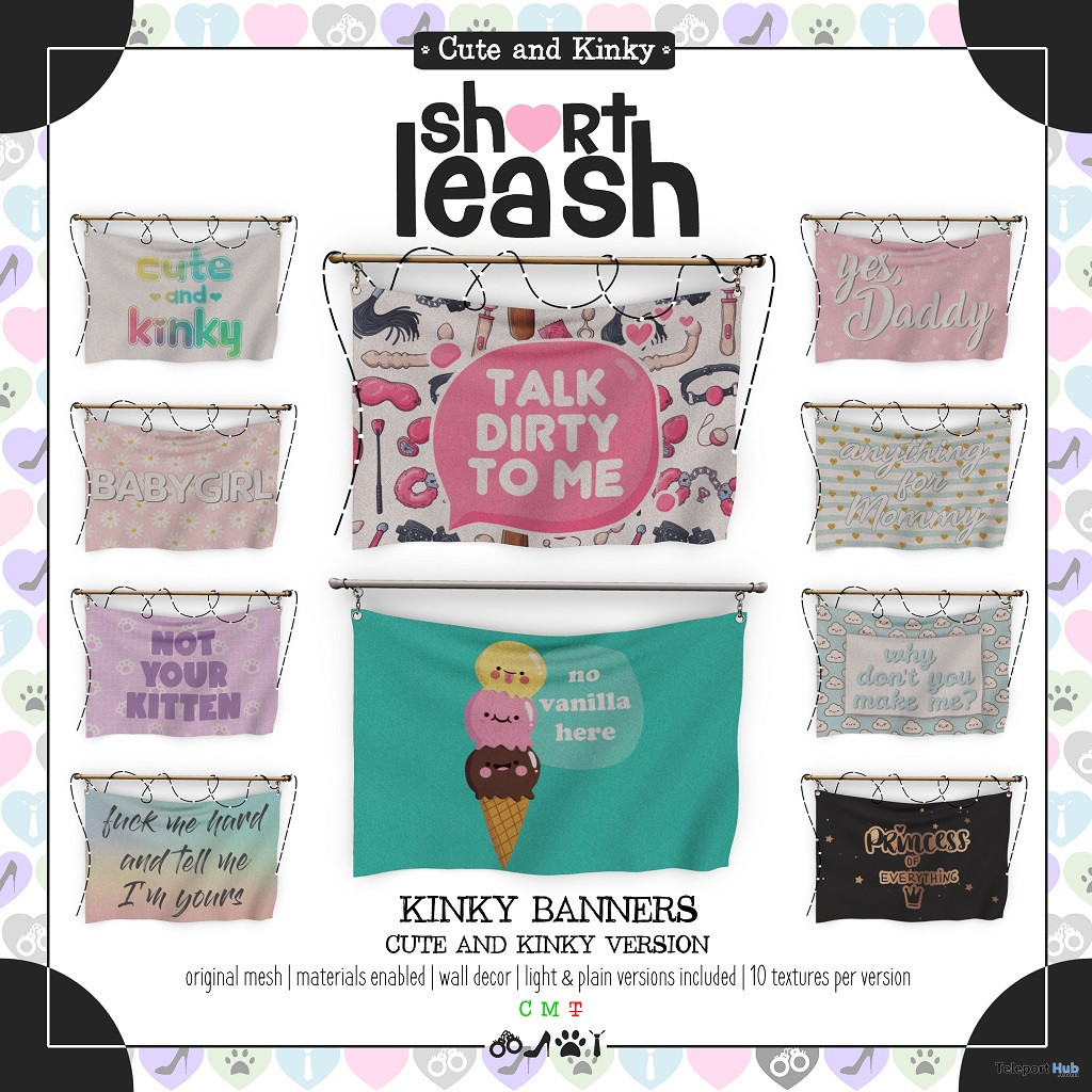 Kinky Banners Cute & Kinky Version April 2020 Group Gift by Short Leash - Teleport Hub - teleporthub.com