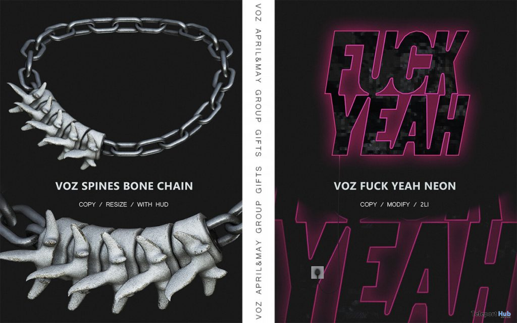 Spines Bone Chain & Fuck Yeah Neon May 2020 Group Gift by VO.Z - Teleport Hub - teleporthub.com