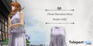 Floral Sleeveless Dress Purple May 2020 Group Gift by S@BBiA - Teleport Hub - teleporthub.com