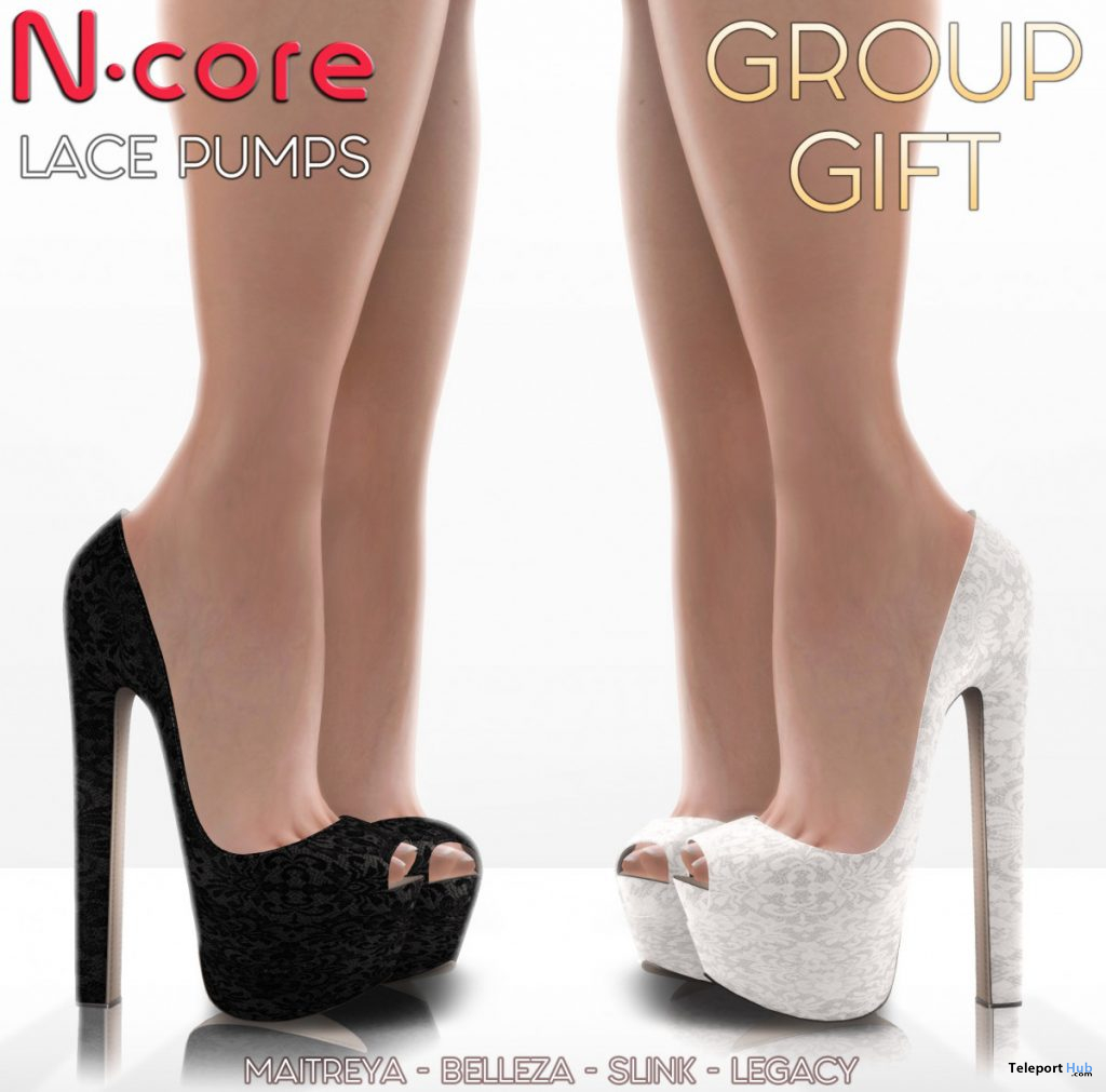 Lace Pumps Black & White May 2020 Group Gift by N-CORE - Teleport Hub - teleporthub.com