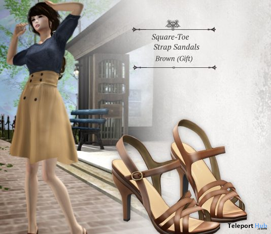 Square-Toe Strap Sandals Brown May 2020 Group Gift by S@BBiA - Teleport Hub - teleporthub.com