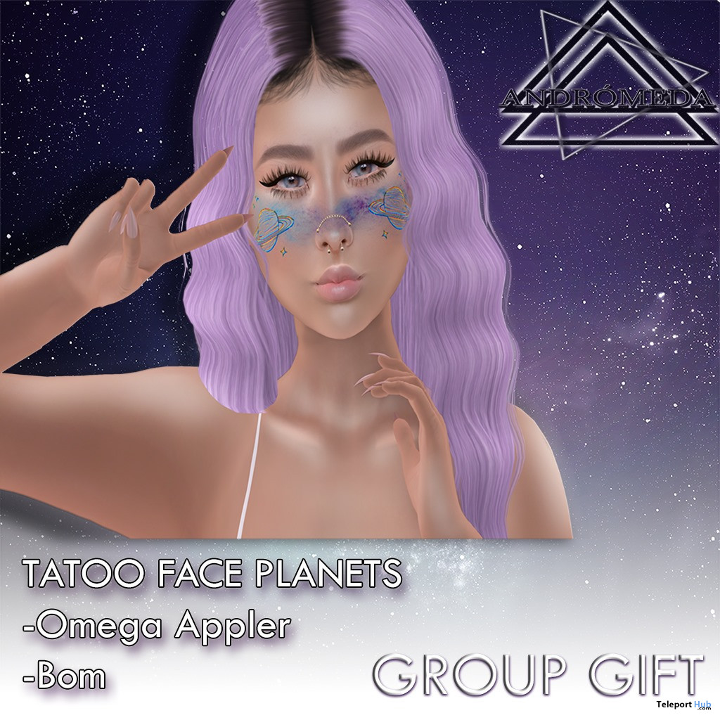 Face Tattoo Planets May 2020 Group Gift by Andromeda Store - Teleport Hub - teleporthub.com