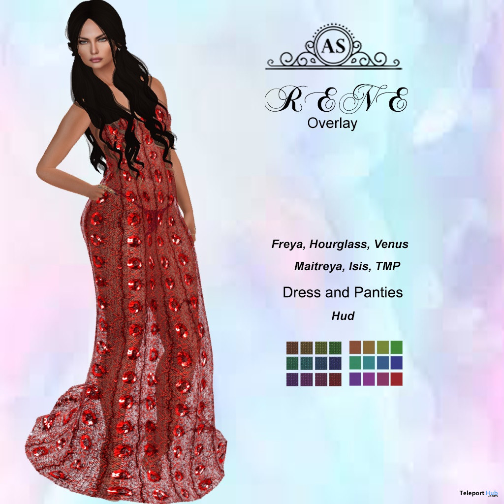 Rene Overlay Dress May 2020 Group Gift by AS Couture - Teleport Hub - teleporthub.com