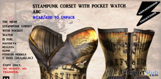 Steampunk Corset With Pocket Watch ABC May 2020 Group Gift by Armageddon Creations - Teleport Hub - teleporthub.com