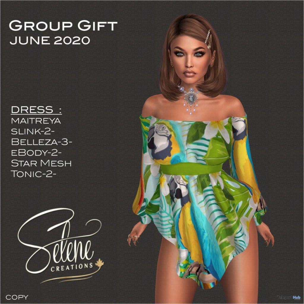 Off Shoulder Dress June 2020 Group Gift by Selene Creations - Teleport Hub - teleporthub.com