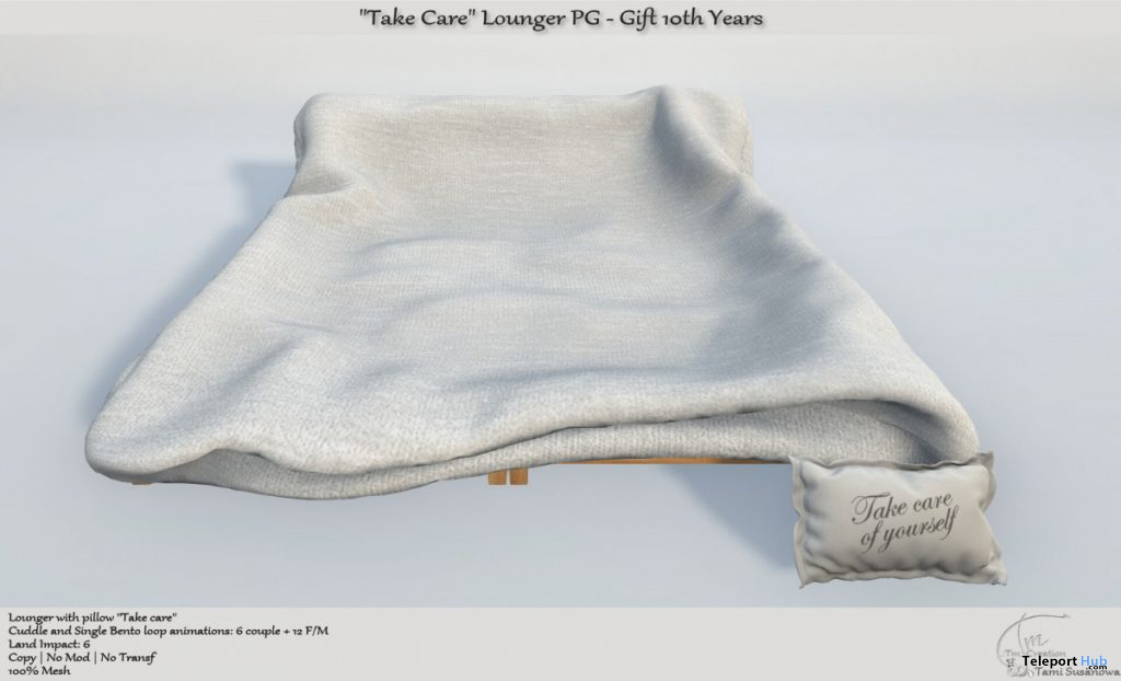 Take Care Lounger PG Edition 10th Anniversary Group Gift by Tm Creation - Teleport Hub - teleporthub.com