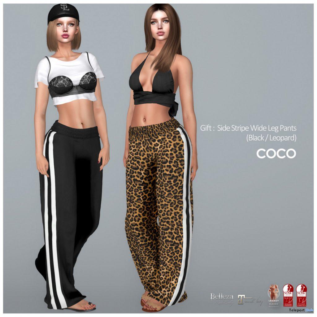 Side Stripe Wide Leg Pants Black & Leopard June 2020 Group Gift by COCO Designs - Teleport Hub - teleporthub.com