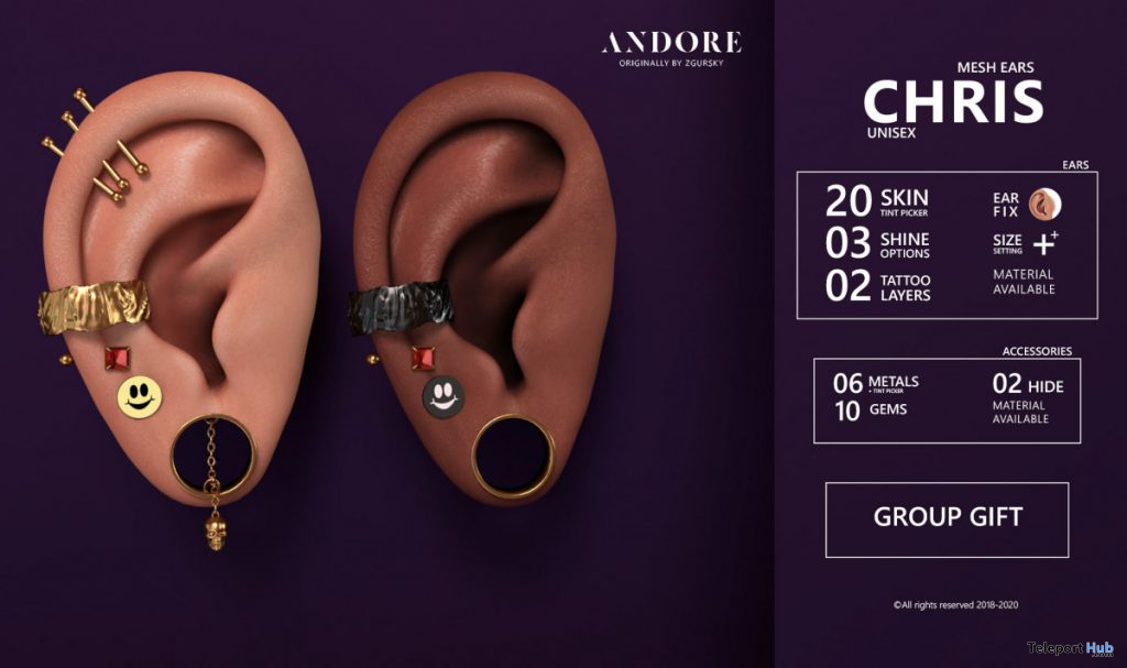 Chris Unisex Mesh Ears June 2020 Group Gift by ANDORE - Teleport Hub - teleporthub.com