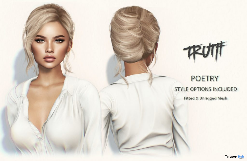 Poetry Hair Fatpack With Style HUD Group Gift by TRUTH HAIR - Teleport Hub - teleporthub.com