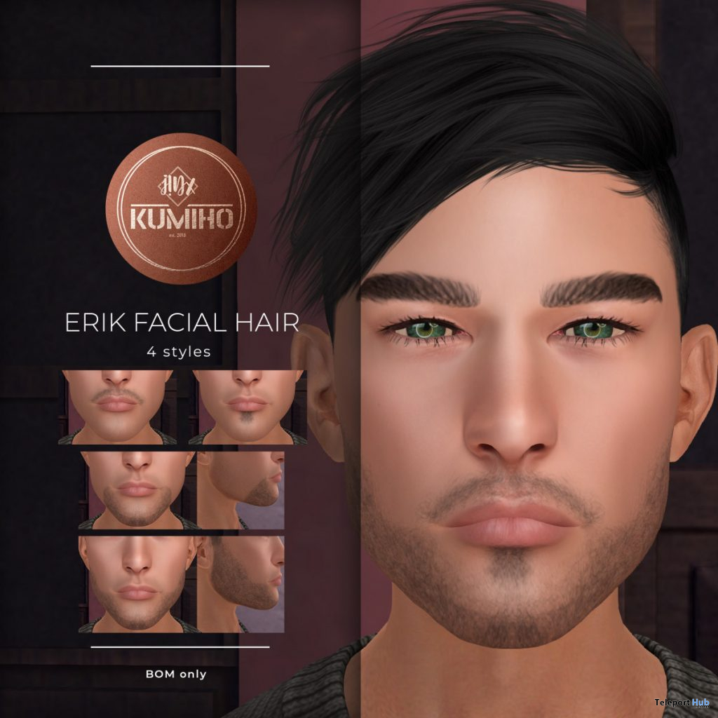 Erik Facial Hair June 2020 Group Gift by KUMIHO x j!NX - Teleport Hub - teleporthub.com