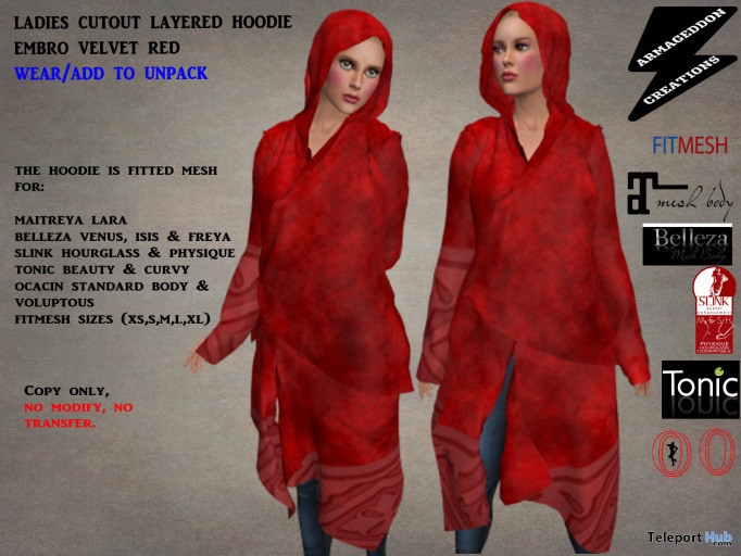 Ladies Asymmetric Cutout Layered Hoodie June 2020 Group Gift by Armageddon Creations - Teleport Hub - teleporthub.com
