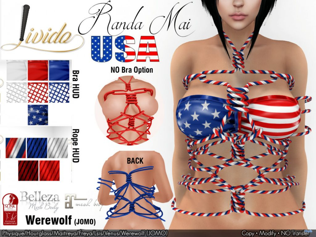 Randa Mai USA Rope Harness July 2020 Group Gift by Livido - Teleport Hub - teleporthub.com