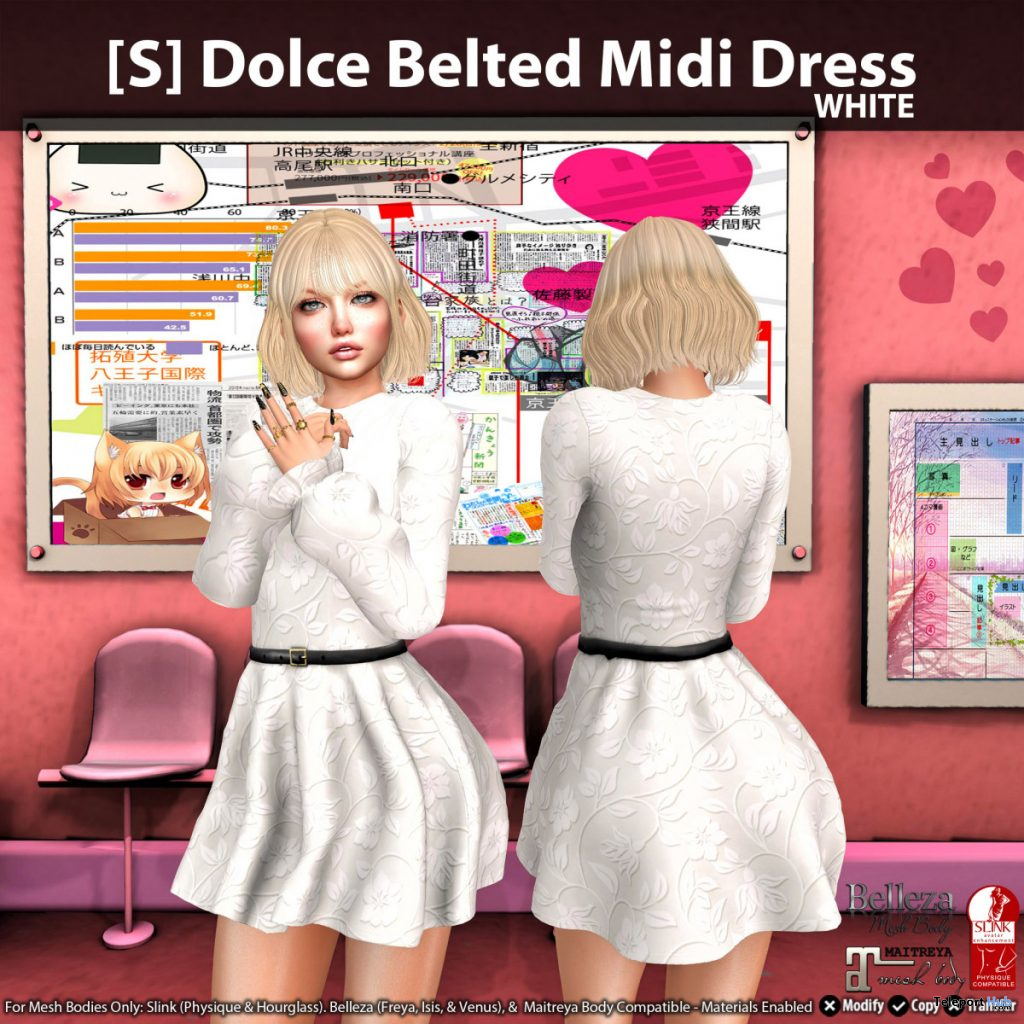 New Release: [S] Dolce Belted Midi Dress by [satus Inc] - Teleport Hub - teleporthub.com