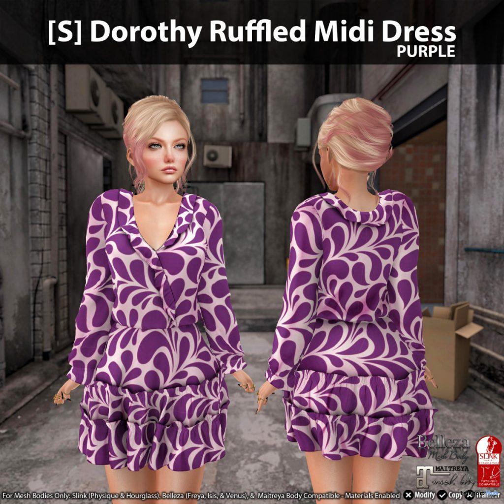 New Release: [S] Dorothy Ruffled Midi Dress by [satus Inc] - Teleport Hub - teleporthub.com