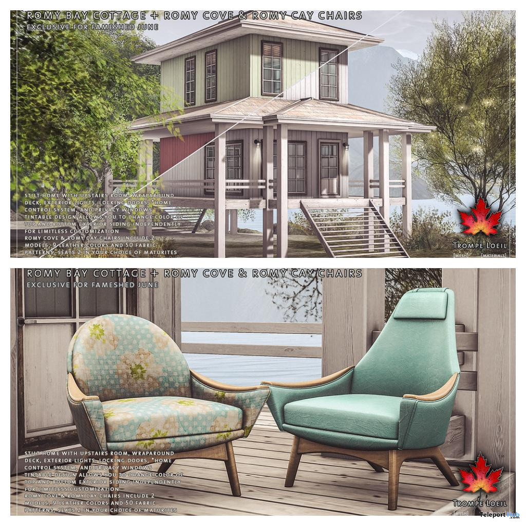 Romy Cove, Romy Cay Chairs PG, & Romy Bay Cottage June 2020 Gift by Trompe Loeil - Teleport Hub - teleporthub.com