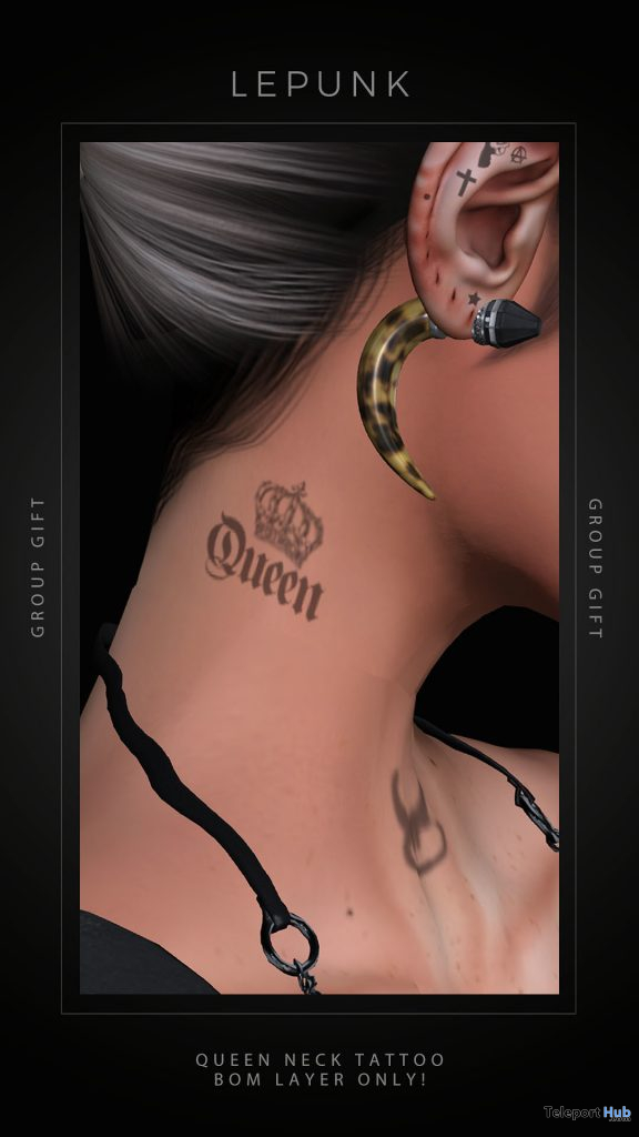 Queen Neck Tattoo BOM Layers July 2020 Group Gift by LePunk - Teleport Hub - teleporthub.com