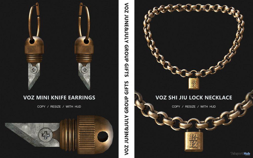 Mini Knife Earrings & Shi Jiu Lock Necklace June & July 2020 Group Gift by VO.Z - Teleport Hub - teleporthub.com