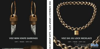 Mini Knife Earrings & Shi Jiu Lock Necklace June & July 2020 Group Gift by VO.Z - Teleport Hub - teleporthub.com
