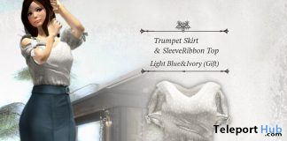 Trumpet Skirt & Sleeve Ribbon Top Light Blue & Ivory July 2020 Group Gift by S@BBiA - Teleport Hub - teleporthub.com