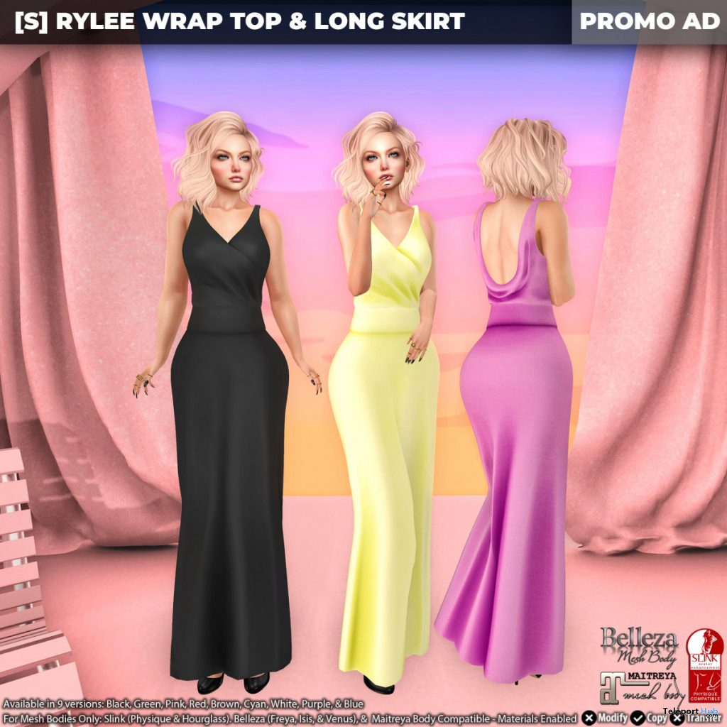 New Release: [S] Rylee Wrap Top & Long Skirt by [satus Inc] - Teleport Hub - teleporthub.com