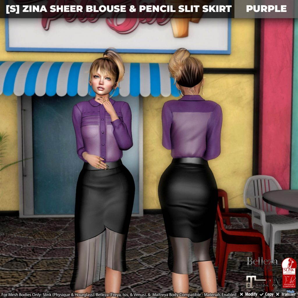 New Release: [S] Zina Sheer Blouse & Pencil Slit Skirt by [satus Inc] - Teleport Hub - teleporthub.com