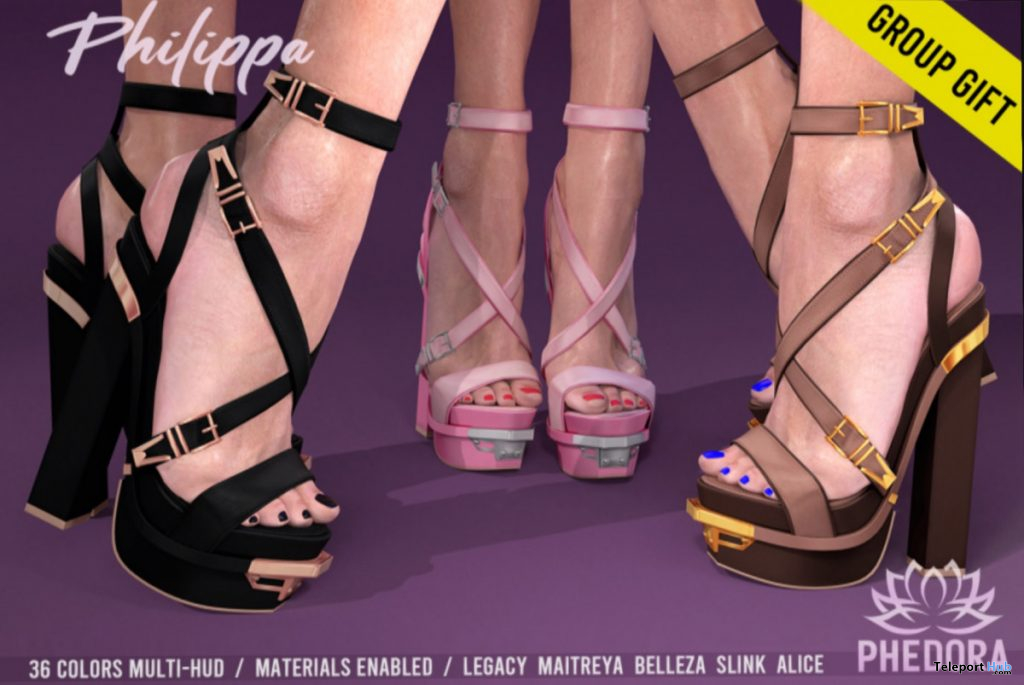 Philippa Heels Fatpack July 2020 Group Gift by Phedora - Teleport Hub - teleporthub.com