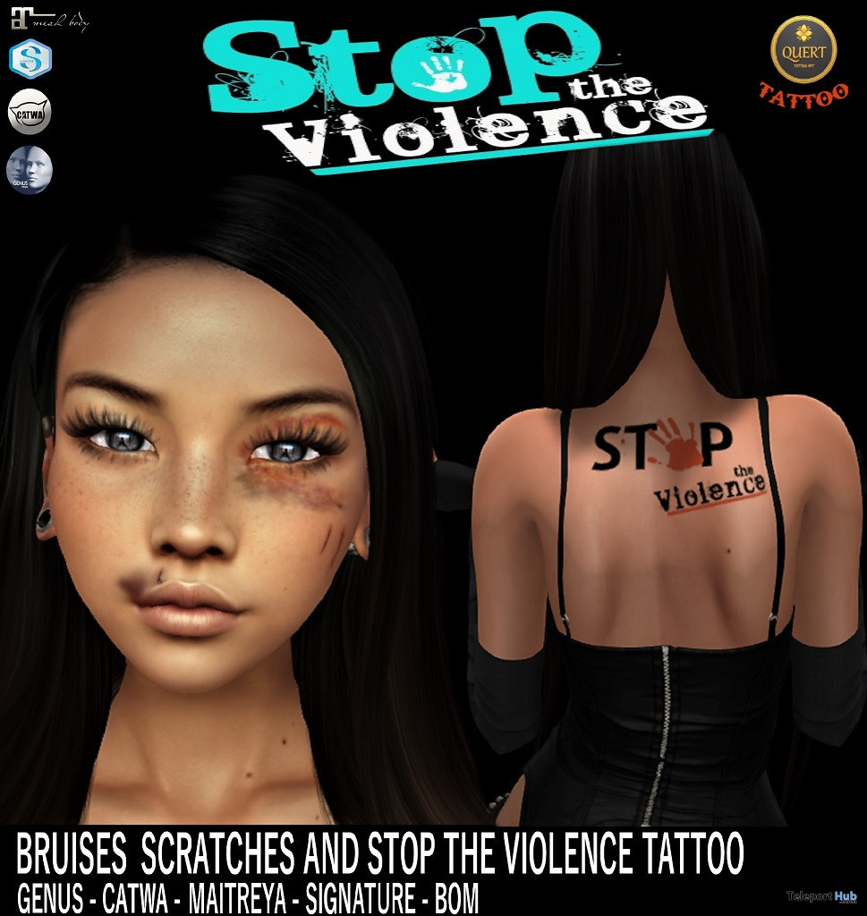 Stop The Violence Tattoo July 2020 Group Gift by QUERT - Teleport Hub - teleporthub.com