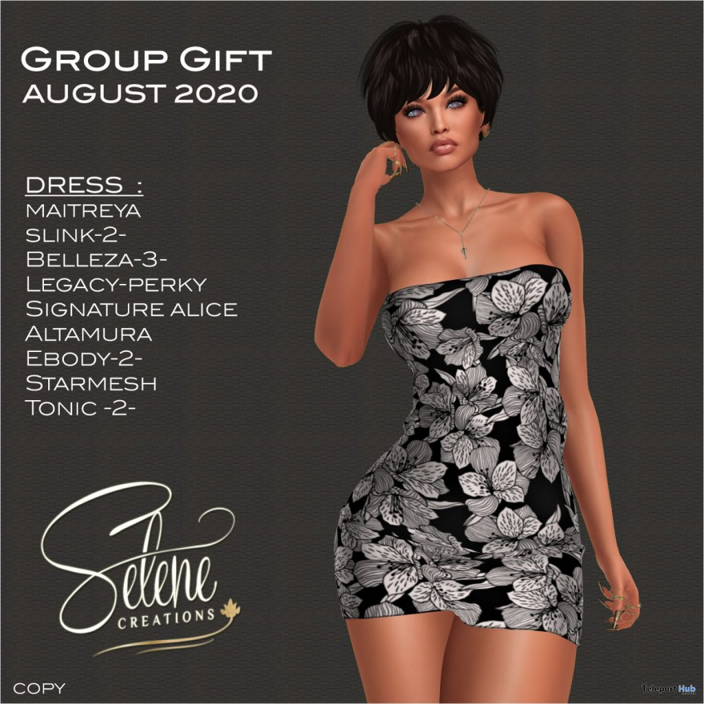 Leafy Black Dress August 2020 Group Gift by Selene Creations - Teleport Hub - teleporthub.com