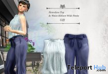 Sleeveless Top & Waist Ribbon Wide Pants August 2020 Group Gift by S@BBiA - Teleport Hub - teleporthub.com
