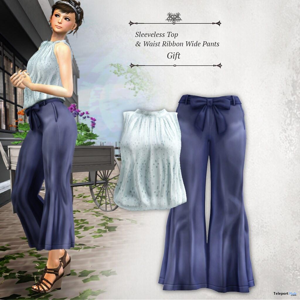 Sleeveless Top & Waist Ribbon Wide Pants August 2020 Group Gift by S@BBiA - Teleport Hub - teleporthub.com