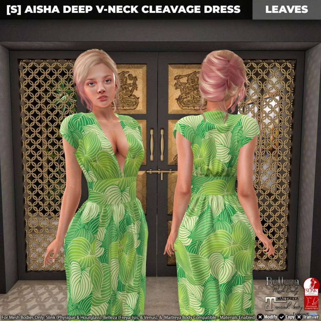 New Release: [S] Aisha Deep V-Neck Cleavage Dress by [satus Inc] - Teleport Hub - teleporthub.com
