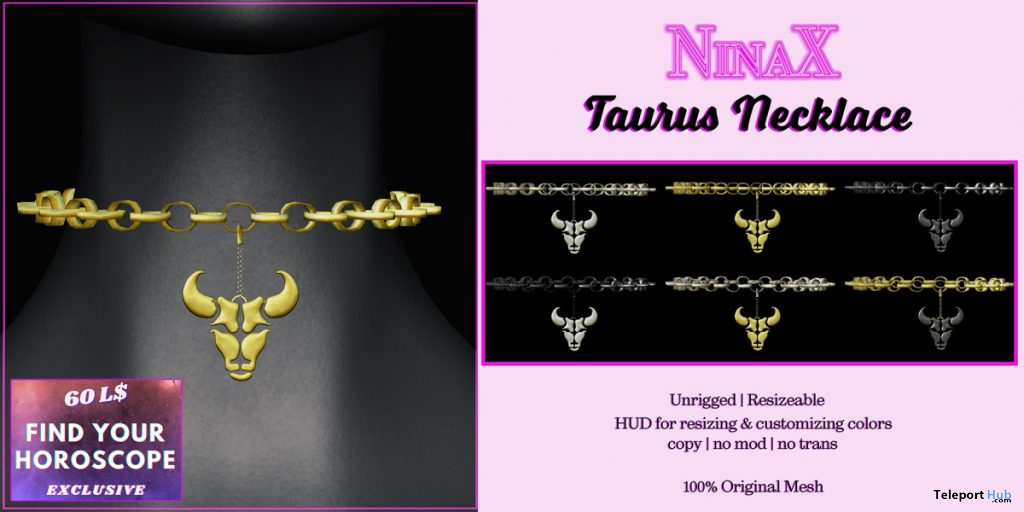 Taurus Necklace 60L Promo by NinaX - Teleport Hub - teleporthub.com
