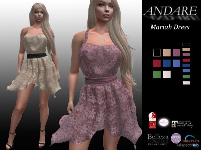 Mariah Dress August 2020 Group Gift by ANDARE - Teleport Hub - teleporthub.com