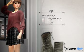 Back Lace-up Platform Boots September 2020 Group Gift by S@BBiA - Teleport Hub - teleporthub.com
