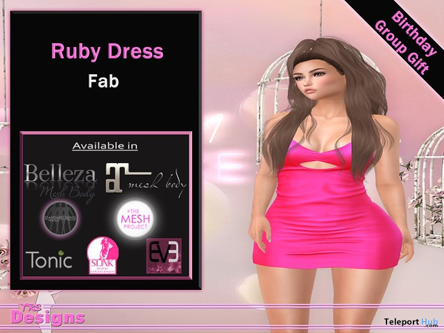 Ruby Dress Fab 4th Anniversary September 2020 Group Gift by TRS Designs - Teleport Hub - teleporthub.com