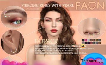 Piercing Rings With Pearl Fatpack September 2020 Group Gift by FAON - Teleport Hub - teleporthub.com