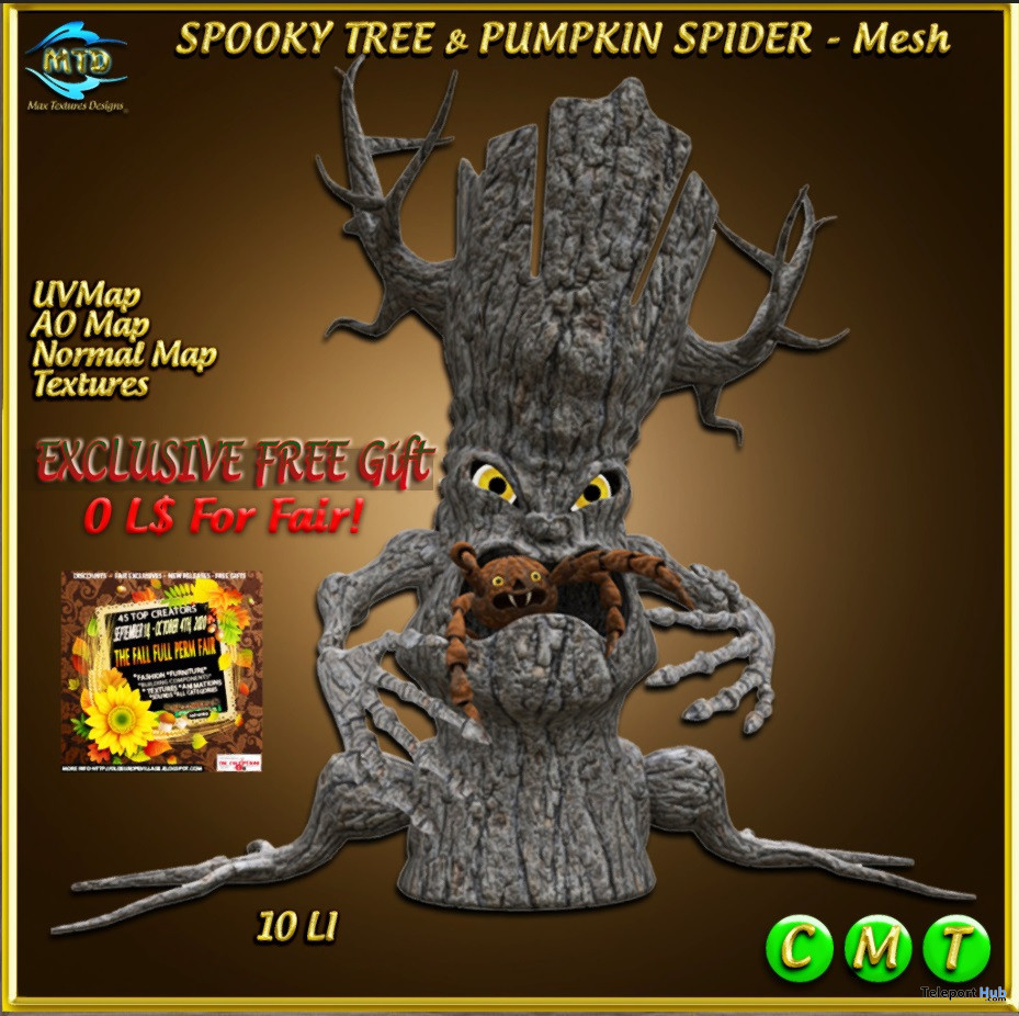 Spooky Tree and Pumpkin Spider September 2020 Gift by MTD Designs - Teleport Hub - teleporthub.com