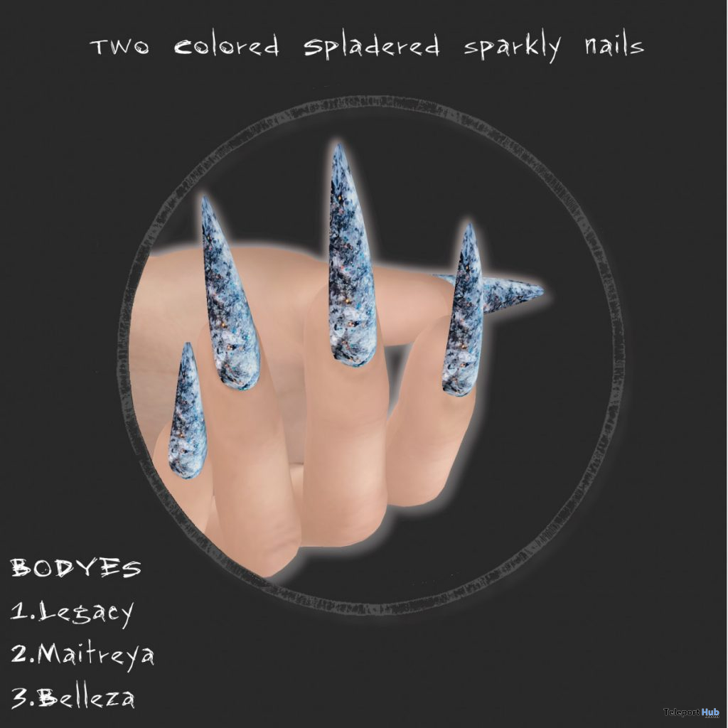 Two Colored Splattered Nails September 2020 Group Gift by Max Magic - Teleport Hub - teleporthub.com