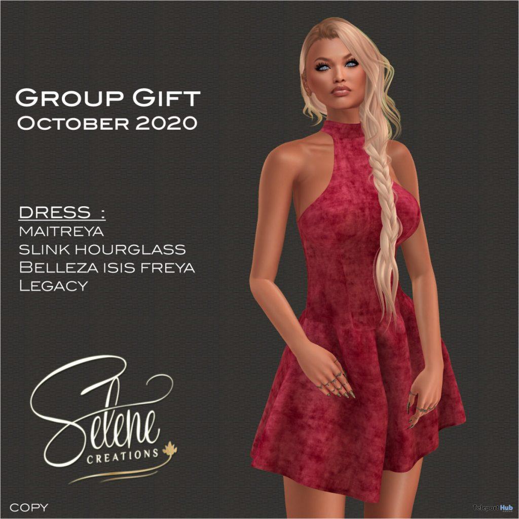 Sleeveless Dress Red October 2020 Group Gift by Selene Creations - Teleport Hub - teleporthub.com