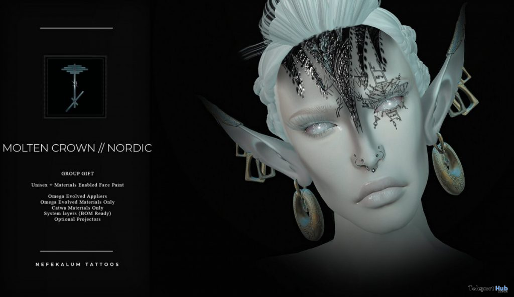 Molten Crown Nordic October 2020 Group Gift by Nefekalum Tattoos - Teleport Hub - teleporthub.com