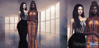 Mona Black & Stripes Long Dress October 2020 Group Gift by LYBRA - Teleport Hub - teleporthub.com